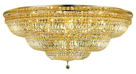 Elegant Lighting 2528F48G/Rc Royal Cut Clear Crystal Tranquil 33-Light, Single-Tier Flush Mount Crystal Chandelier, Finished In Gold With Clear Crystals