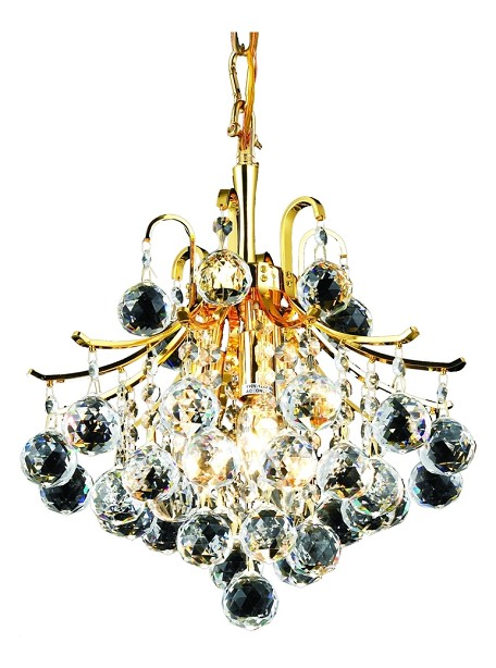 "Toureg Collection 3-Light 12"" Gold Mini Chandelier with Clear Royal Cut Crystal 8000D12G/RC"
