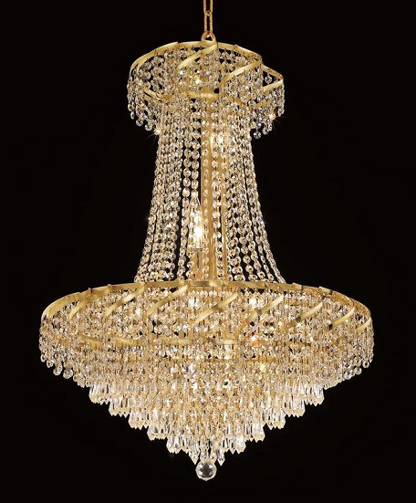 "Belenus Collection 15-Light 26"" Gold Chandelier with Clear Royal Cut Crystal ECA4D26G/RC"