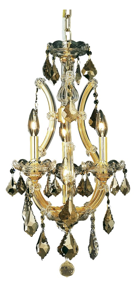 "Maria Theresa Collection 4-Light 12"" Gold Mini Chandelier with Golden Teak Smoky Royal Cut Crystal 2800D12G-GT/RC"