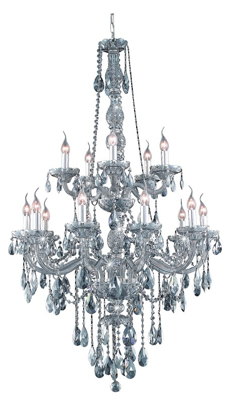 "Verona Collection 15-Light 33"" Gray Chandelier with Silver Shade Grey Royal Cut Crystal 7915G33SS-SS/RC"