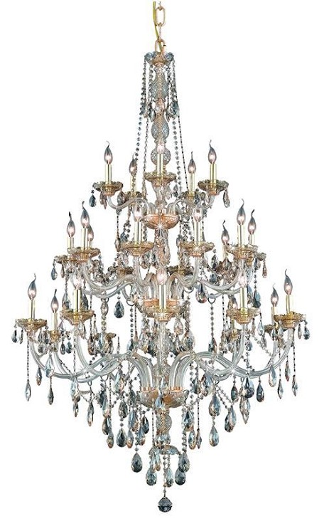 "Verona Collection 25-Light 43"" Golden Shadow Chandelier with Golden Shadow Champagne Royal Cut Crystal 7925G43GS-GS/RC"