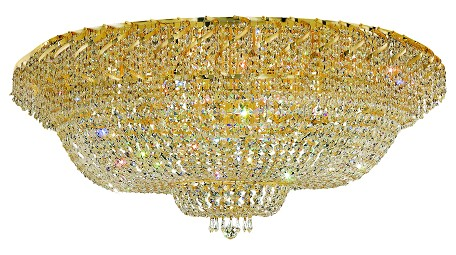 "Belenus Collection 36-Light 48"" Gold Flush Mount with Clear Royal Cut Crystal ECA2F48G/RC"
