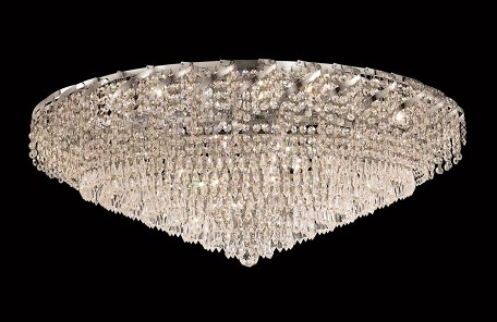 "Belenus Collection 28-Light 36"" Chrome Flush Mount with Clear Royal Cut Crystal ECA4F36C/RC"