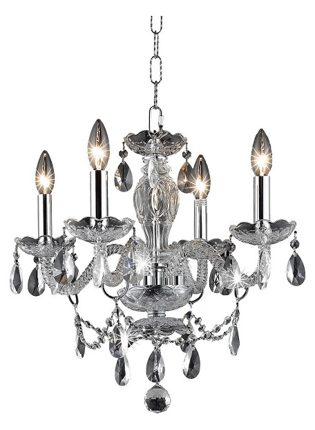 "Princeton Collection 4-Light 17"" Chrome Glass Mini Chandelier with Crystal 7834D17C/RC"