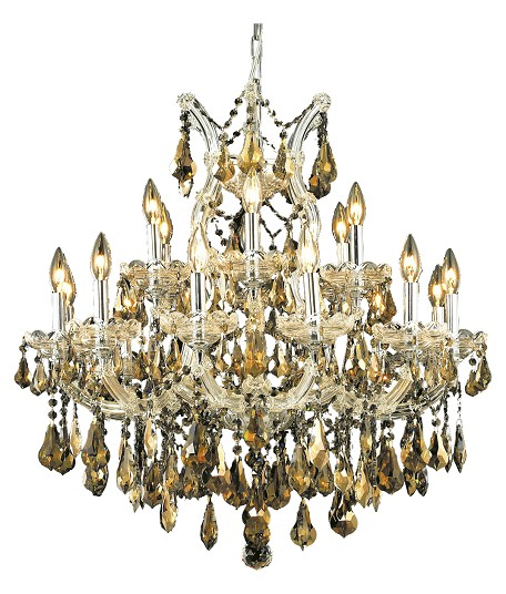 "Maria Theresa Collection 19-Light 30"" Chrome Chandelier with Golden Teak Smoky Royal Cut Crystal 2801D30C-GT/RC"