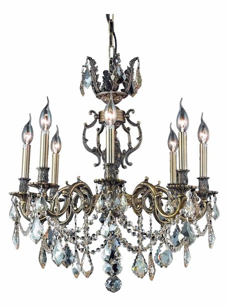 "Marseille Collection 8-Light 24"" Antique Bronze Chandelier with Golden Shadow Champagne Royal Cut Crystal 9508D24AB-GS/RC"