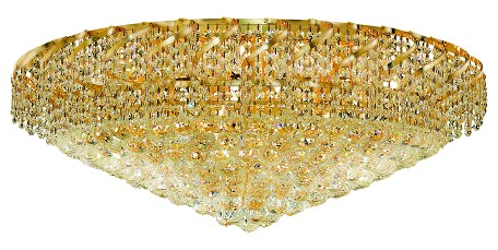 "Belenus Collection 28-Light 36"" Gold Flush Mount with Clear Royal Cut Crystal ECA1F36G/RC"
