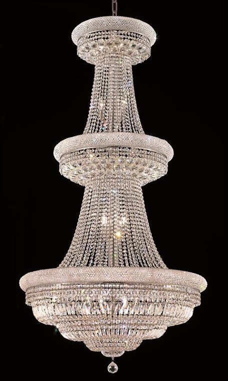 "Primo Collection 32-Light 36"" Chrome Chandelier with Clear Royal Cut Crystal 1803G36C/RC"