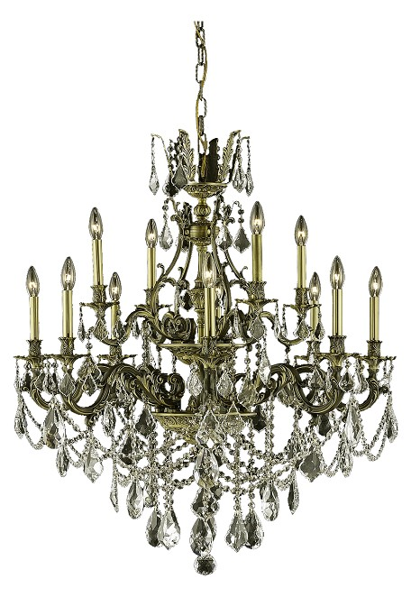 "Monarch Collection 12-Light 35"" Antique Bronze Chandelier with Golden Shadow Champagne Royal Cut Crystal 9612D35AB-GS/RC"