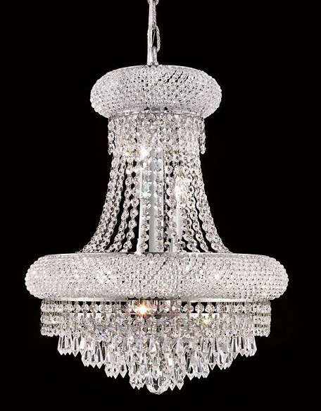 "Primo Collection 8-Light 16"" Chrome Chandelier with Clear Royal Cut Crystal 1802D16C/RC"
