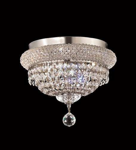 "Primo Collection 4-Light 12"" Chrome Flush Mount with Clear Royal Cut Crystal 1803F12C/RC"