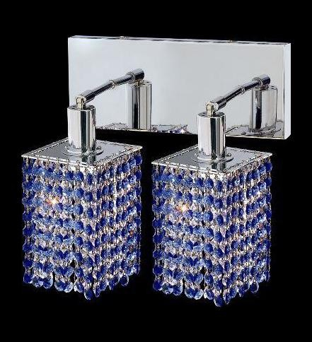 "Mini Collection 2-Light 6"" Chrome Wall Sconce with Sapphire Blue Royal Cut Crystal 1282W-O-S-SA/RC"
