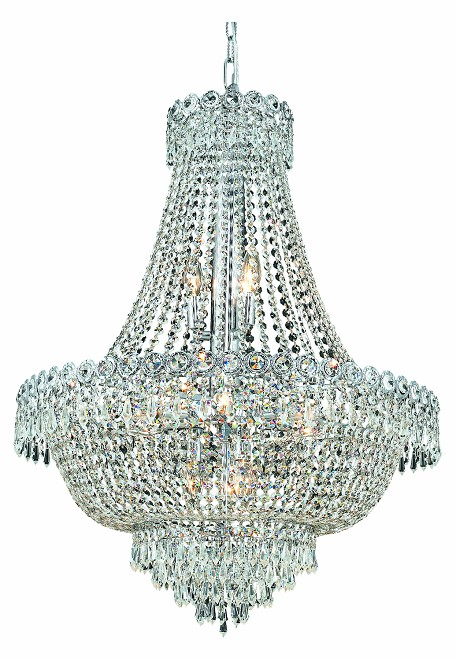 "Century Collection 12-Light 24"" Chrome Chandelier with Clear Royal Cut Crystal 1900D24C/RC"