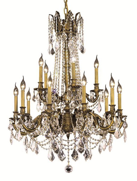 "Rosalia Collection 15-Light 28"" Antique Bronze Chandelier with Clear Royal Cut Crystal 9215D28AB/RC"