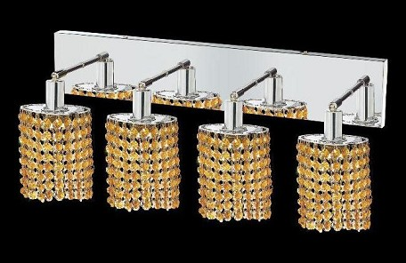 "Mini Collection 4-Light 26"" Chrome Wall Sconce with Light Topaz Yellow Royal Cut Crystal 1284W-O-E-LT/RC"