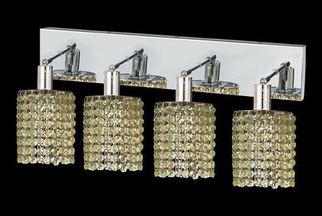 "Mini Collection 4-Light 26"" Chrome Wall Sconce with Peridot Light Green Royal Cut Crystal 1284W-O-R-LP/RC"
