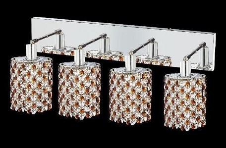 "Mini Collection 4-Light 26"" Chrome Wall Sconce with Topaz Brown Royal Cut Crystal 1384W-O-E-TO/RC"