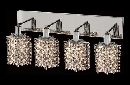 "Mini Collection 4-Light 26"" Chrome Wall Sconce with Golden Teak Smoky Royal Cut Crystal 1384W-O-P-GT/RC"