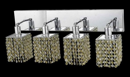 "Mini Collection 4-Light 26"" Chrome Wall Sconce with Light Topaz Yellow Royal Cut Crystal 1384W-O-S-LT/RC"