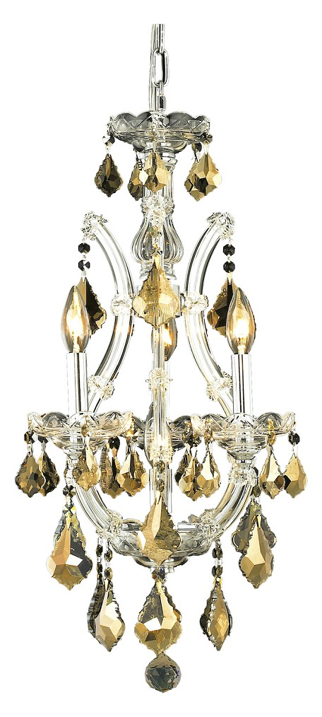 "Maria Theresa Collection 4-Light 12"" Chrome Mini Chandelier with Golden Teak Smoky Royal Cut Crystal 2800D12C-GT/RC"