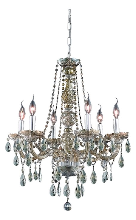 "Verona Collection 6-Light 24"" Golden Teak Chandelier with Golden Teak Smoky Royal Cut Crystal 7956D24GT-GT/RC"