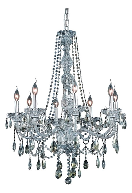 "Verona Collection 8-Light 28"" Chrome Chandelier with Golden Teak Smoky Royal Cut Crystal 7958D28C-GT/RC"
