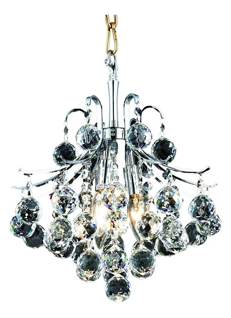 "Toureg Collection 3-Light 12"" Chrome Mini Chandelier with Clear Royal Cut Crystal 8000D12C/RC"
