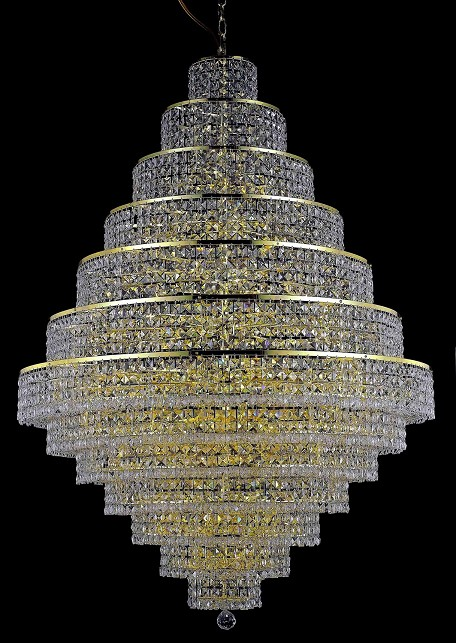 "Maxim Collection 38-Light 42"" Gold Chandelier with Clear Royal Cut Crystal 2039G42G/RC"