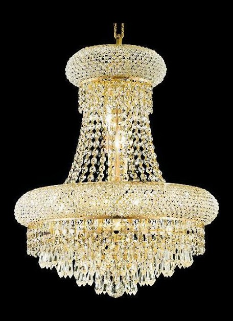 "Primo Collection 8-Light 16"" Gold Chandelier with Clear Royal Cut Crystal 1802D16G/RC"