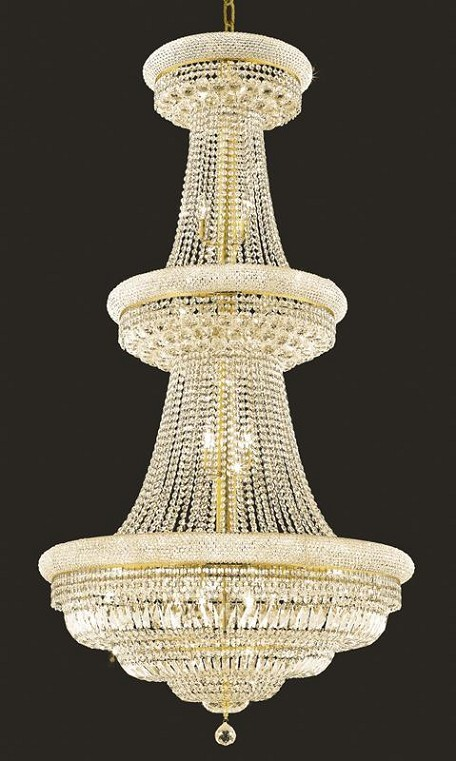 "Primo Collection 32-Light 36"" Gold Chandelier with Clear Royal Cut Crystal 1803G36G/RC"