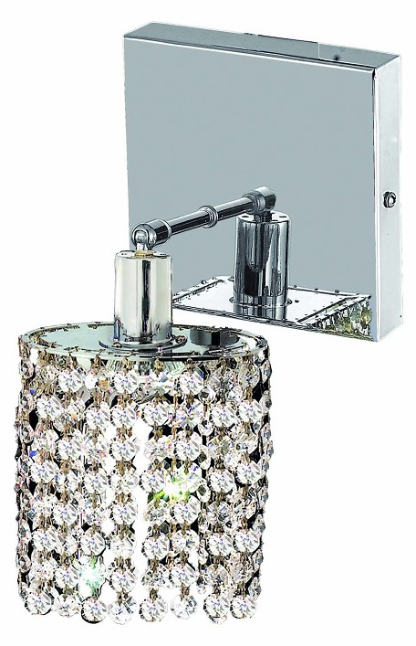 "Mini Collection 1-Light 6"" Chrome Wall Sconce with Clear  Swarovski Strass Crystal 1281W-S-R-CL/SS"