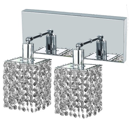 "Mini Collection 2-Light 6"" Chrome Wall Sconce with Clear Swarovski Spectra Crystal 1282W-O-S-CL/SA"