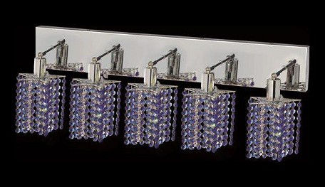 "Mini Collection 5-Light 34"" Chrome Wall Sconce with Sapphire Blue Swarovski Strass Crystal 1285W-O-P-SA/SS"