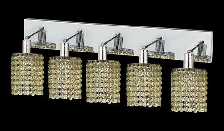 "Mini Collection 5-Light 34"" Chrome Wall Sconce with Peridot Light Green Swarovski Strass Crystal 1285W-O-R-LP/SS"