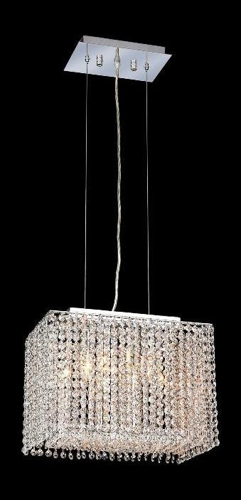 "Moda Collection 2-Light 9"" Chrome Pendant with Light Topaz Yellow Swarovski Strass Crystal 1291D14C-LT/SS"