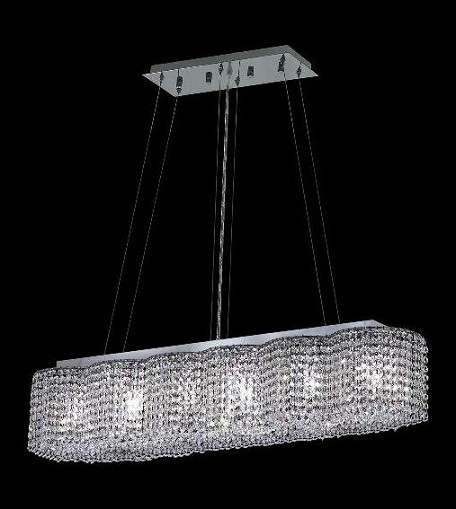 "Moda Collection 6-Light 8"" Chrome Island Light with Light Topaz Yellow Swarovski Strass Crystal 1295D40C-LT/SS"