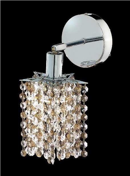 "Mini Collection 1-Light 6"" Chrome Wall Sconce with Golden Teak Smoky Swarovski Strass Crystal 1381W-R-P-GT/SS"