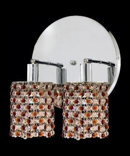 "Mini Collection 2-Light 9"" Chrome Wall Sconce with Topaz Brown Swarovski Strass Crystal 1382W-R-R-TO/SS"