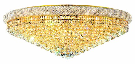 Elegant Lighting 1800F42G/Sa Swarovski Spectra Clear Crystal Primo 30-Light, Single-Tier Flush Mount Crystal Chandelier, Finished In Gold With Clear Crystals