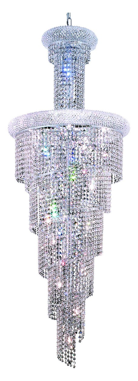 "Spiral Collection 22-Light 22"" Chrome Chandelier with Clear  Swarovski Strass Crystal 1800SR22C/SS"
