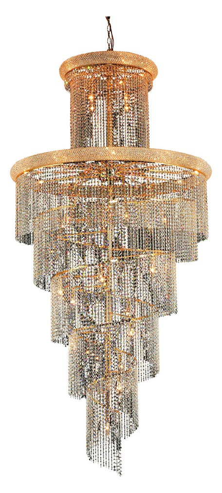 Elegant Lighting 1800Sr48G/Sa Swarovski Spectra Clear Crystal Spiral 41-Light, Four-Tier Crystal Chandelier, Finished In Gold With Clear Crystals