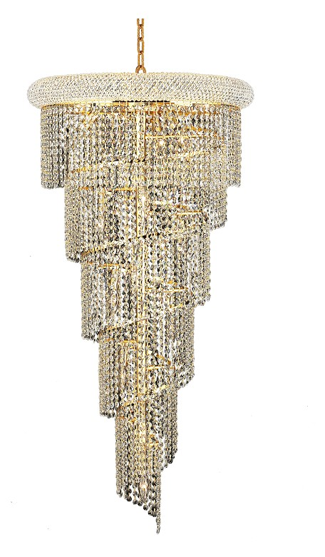 "Spiral Collection 18-Light 22"" Gold Chandelier with Clear Swarovski Spectra Crystal 1801SR22G/SA"