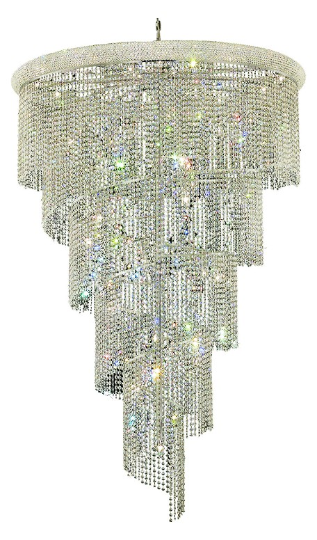 Elegant Lighting 1801Sr48C/Sa Swarovski Spectra Clear Crystal Spiral 29-Light, Four-Tier Crystal Chandelier, Finished In Chrome With Clear Crystals