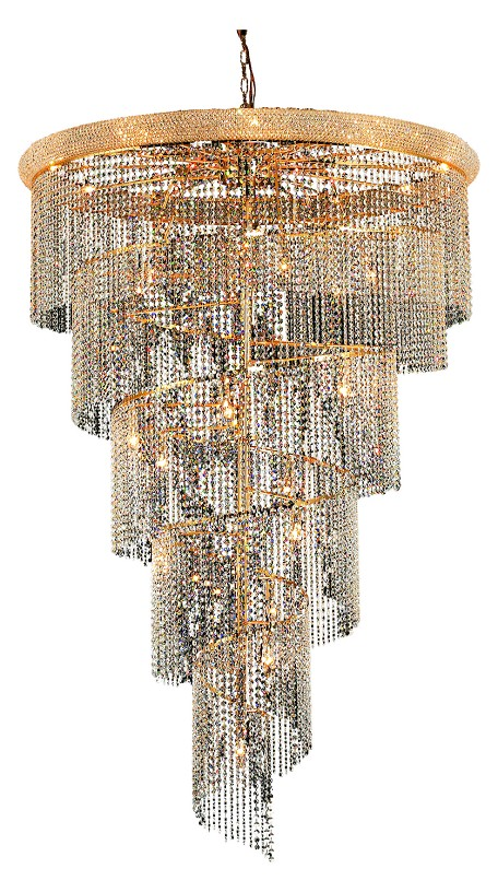 Elegant Lighting 1801Sr48G/Sa Swarovski Spectra Clear Crystal Spiral 29-Light, Four-Tier Crystal Chandelier, Finished In Gold With Clear Crystals