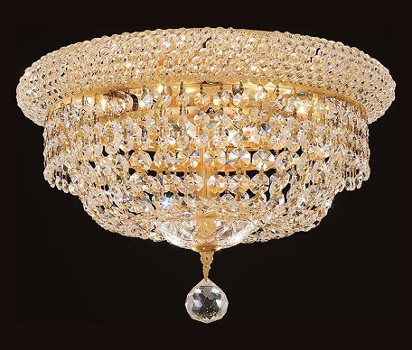 "Primo Collection 6-Light 14"" Gold Flush Mount with Clear Elegant Cut Crystal 1803F14G/EC"