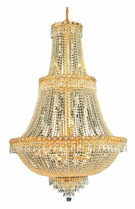 "Century Collection 17-Light 30"" Gold Chandelier with Clear Elegant Cut Crystal 1900G30G/EC"
