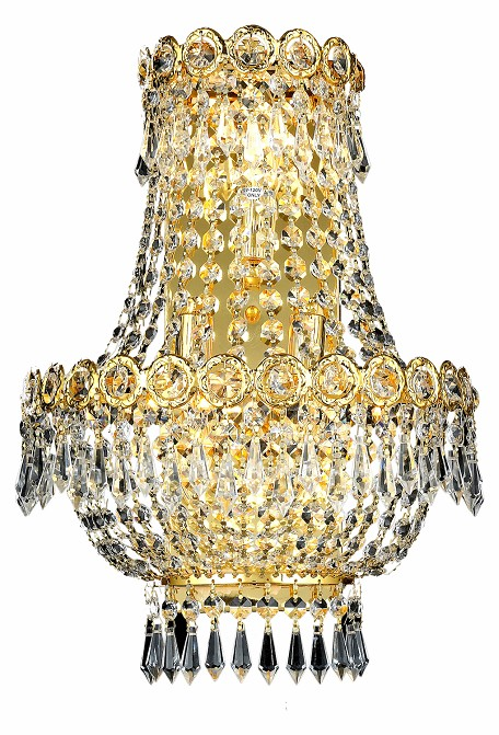 "Century Collection 3-Light 12"" Gold Wall Sconce with Clear Swarovski Spectra Crystal 1900W12SG/SA"