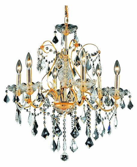 "St. Francis Collection 6-Light 24"" Gold Chandelier with Clear  Swarovski Strass Crystal 2015D24G/SS"