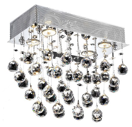 "Galaxy Collection 6-Light 12"" Chrome Flush Mount with Clear Swarovski Spectra Crystal 2021F20C/SA"